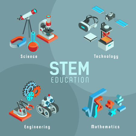 Vector illustration with elements of STEM education. Science, Technology, Engineering, Mathematics. Set of isometric icons.