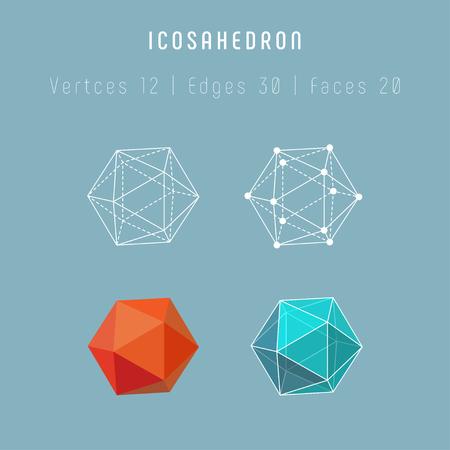 Icosaedro poliedro regolare. Uno dei solidi platonici.