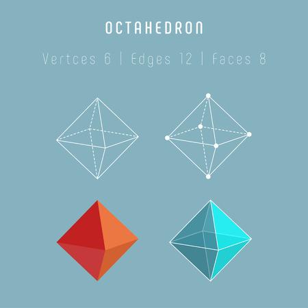 Octaedro poliedro regular. Uno de los sólidos platónicos. Ilustración de vector
