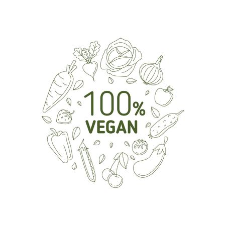 100 percent vegan. Monochrome vector illustration with vegetables, fruits and leaves