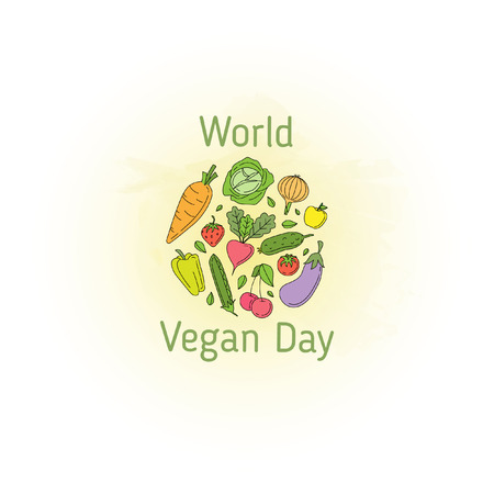 World Vegan Day. Vector illustration with circle composed of vegetables, fruits and leaves on watercolor background