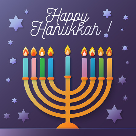 Happy Hanukkah vector illustration with menorah and David stars on a violet background Illustration