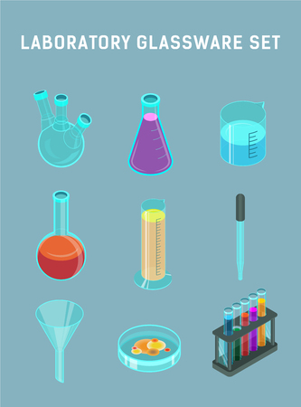Laboratory glassware set on a gray background. Isometric vector icons. Three-neck flask, Erlenmeyer flask, beaker, round-bottom flask, measuring cylinder, pipette, funnel, Petri dish and test tubes