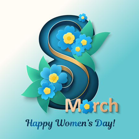 March 8. Happy womens day vector illustration. Design element for greeting cards, flyers, posters or banners with ribbon and blue flowers.  イラスト・ベクター素材