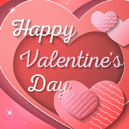 Happy Valentines Day. Vector illustration. Greeting card, invitation, banner or flyer design concept. Paper cut style. Red and pink hearts with pink glitter. Red background  イラスト・ベクター素材