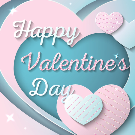 Happy Valentines Day. Vector illustration. Greeting card, banner or flyer design concept. Paper cut style. Pink and blue hearts with pink glitter.  イラスト・ベクター素材