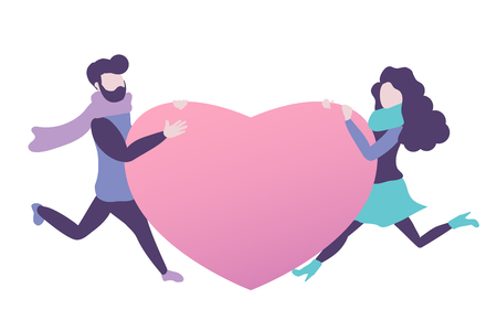 Couple in love holds a heart. Vector design element for greetings, wedding, Valentine's day etc. Flat style. Isolated on white background.