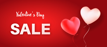 Valentines Day sale. Vector illustration with two heart-shaped balloons, red and white on red background. Design concept for banners, flyers or posters.  イラスト・ベクター素材
