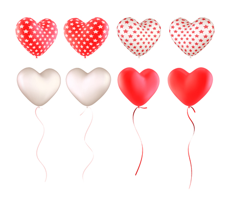 Set of heart shape balloons, red, white and with a star texture. Design elements for greeting cards, banners or posters for the holidays, Valentines Day, Wedding, Birthday etc. Isolated on white.