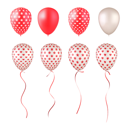 Set of balloons, red, white and patterned with stars and hearts. Design elements for greeting cards, banners or posters for holidays, Valentines Day, wedding, birthday, etc. Isolated on white.  イラスト・ベクター素材
