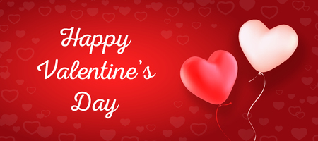 Happy Valentines Day. Vector template for greeting card, invitation, banner or flyer. Two heart-shaped balloons, red and white on red background with heart pattern.  イラスト・ベクター素材