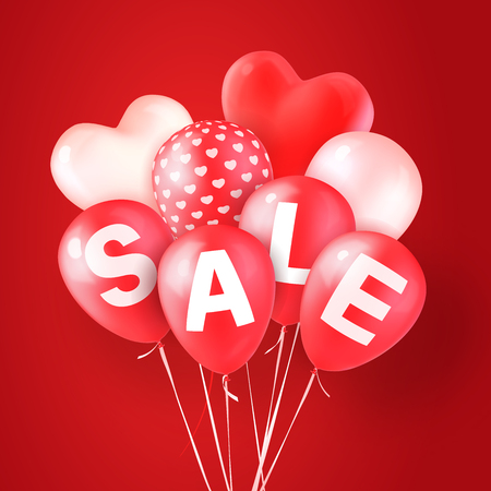Valentines Day Sale. Vector illustration. Red and white balloons, heart-shaped and with a heart pattern. Red balloons with letters SALE. Red background. Design element for banners, flyers or posters.