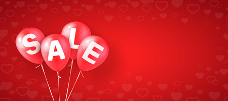 Sale. Vector illustration. Red balloons with letters SALE on red background with heart pattern. Design element for banners, flyers or posters. Suitable for Valentines Day, Sweetest Day etc.