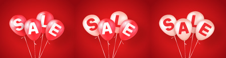 Red and white balloons with letters SALE. Vector design elements for advertising banner, flyers or posters. Red background