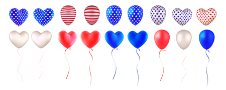 Set of balloons, painted as an American flag. Red, blue, white, striped and with stars. Heart-shaped and round. Design elements for holidays, Independence Day, Presidents Day etc. Isolated on white  イラスト・ベクター素材