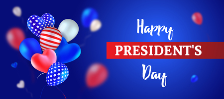 Happy Presidents Day. Vector illustration with flying balloons, colored like the USA flag. Red, blue, white, striped, with stars, heart-shaped and round. Template for greeting card, banner or poster. 写真素材 - 117974861
