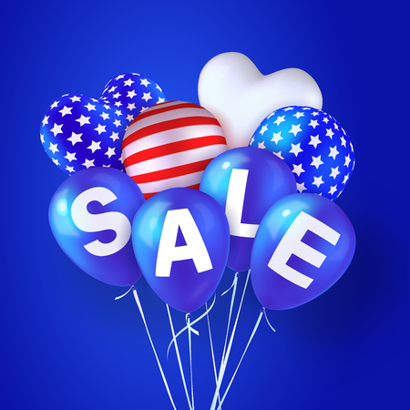 Sale. Balloons colored like American, striped and with stars. Blue background. Vector design element for banners, flyers or posters. Suitable for Presidents Day, Independence Day and other holidays  イラスト・ベクター素材