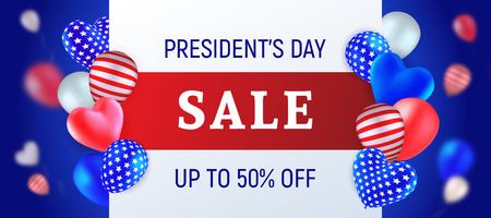 Presidents Day Sale. Vector illustration with balloons colored like USA flag, red, blue and white, striped and with stars, heart-shaped and round. Template for advertising banners, flyers or posters.  イラスト・ベクター素材