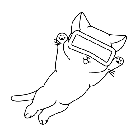 Happy jumping cat with VR headset. Vector illustration, cute character in a minimaistic line art style. Monochrome, isolated on white background.