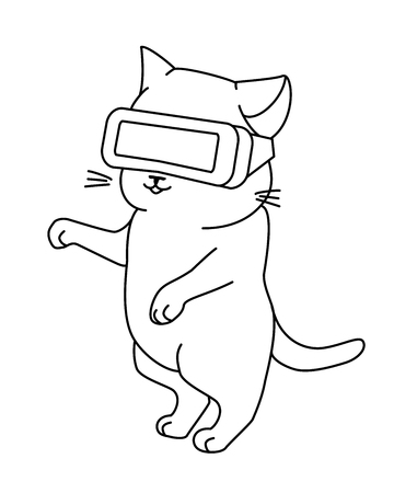 Funny cat with VR helmet. Vector illustration, cute character in a minimaistic line art style. Monochrome, isolated on white background.  イラスト・ベクター素材