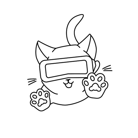 Cute jumping cat with VR glasses. Vector illustration, cute character in a minimaistic line art style. Monochrome, isolated on white background.