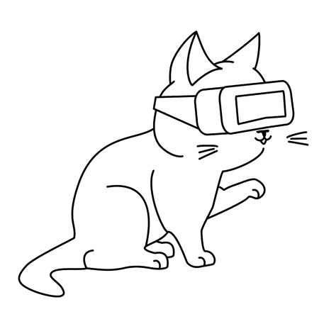Cute curious cat with VR headset. Vector illustration, cute character in a minimaistic line art style. Isolated on white background