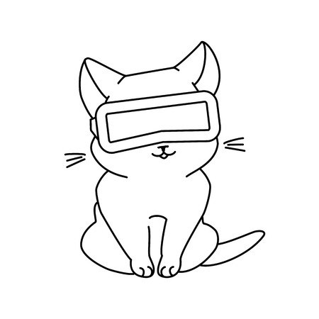 Cute sitting cat with VR glasses. Vector illustration, cute character in a minimaistic line art style. Monochrome, isolated on white background.