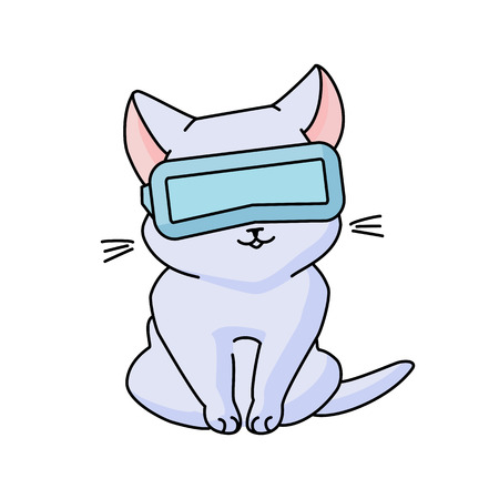 Cute sitting cat with VR glasses. Vector illustration, cute character in a minimaistic line art style. Isolated on white background