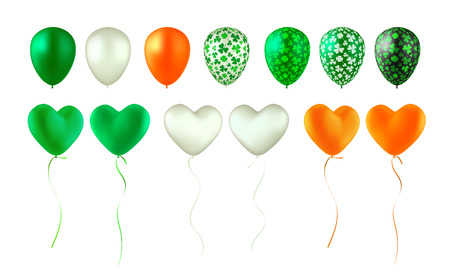 Set of glossy balloons. Green, white, orange, black and with shamrock pattern. Heart-shaped and round. Isolated on white. Design elements for holidays. St. Patricks Day, Ireland Independence Day  イラスト・ベクター素材