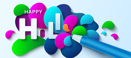 Happy Holi. Vector illustration in paper art style. Water gun with paint splashes. Colorful template for greeting card, poster, banner or flyer.