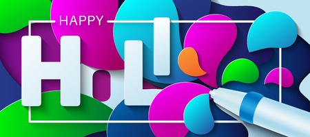 Happy Holi. Vector illustration in paper art style. Water gun with colorful paint splashes. Design concept for greeting card, poster, banner or flyer. 写真素材 - 117974868