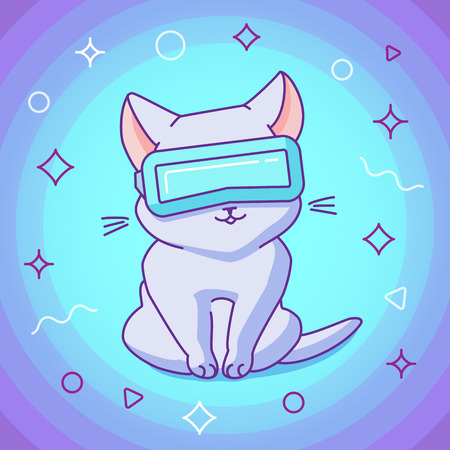Cute sitting cat with VR glasses. Vector illustration, funny character in a minimaistic flat linear style. Vibrant background with particles. Design concept for t-shirt, notebook cover etc.