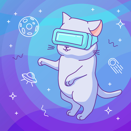 Funny cat with VR helmet in a virtual reality outer space. Cute character in a minimalistic flat linear style. Background with stars and space objects. Design concept for t-shirt, notebook cover etc.