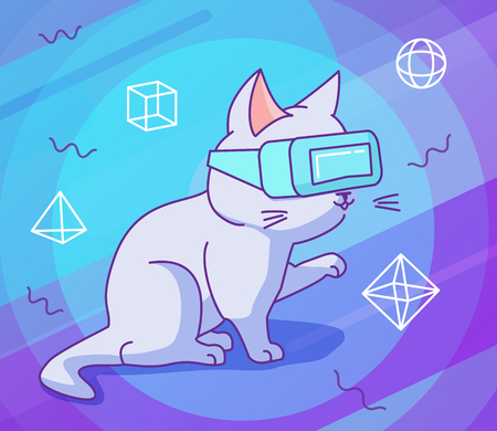 Cute curious cat with VR headset. Vector illustration, funny character in a flat linear style. Vibrant background with particles and geometric figures. Design concept for t-shirt, notebook cover etc. 写真素材 - 119535497