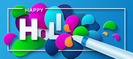 Happy Holi. Vector illustration in a paper art style. Water gun with colorful paint splashes. Design concept for greeting card, poster, banner or flyer.