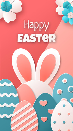 Happy Easter. Illustration with Easter eggs, bunny and spring flowers. Vector template for greeting card, banner, poster, flyer or stories. Trendy colors. Paper art style
