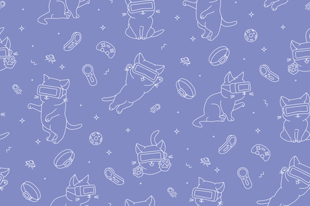 Monochrome seamless pattern with funny cartoon kittens with VR devices in a virtual reality space. Flat linear style. Violet background. Suitable for wrapping paper, textile, backgrounds etc.