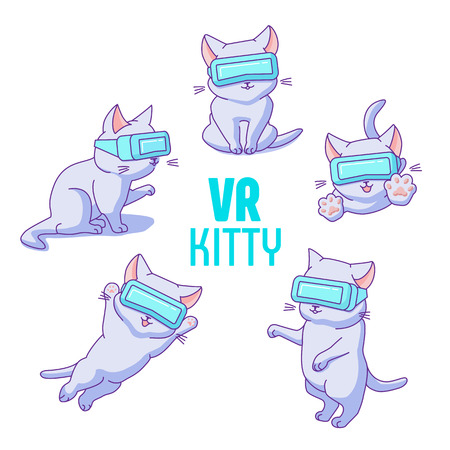 Set of funny cartoon kittens with VR headsets. Jumping and sitting cats in different poses and sides of view. Cute characters in a flat linear style. Isolated on white background. 写真素材 - 119535498