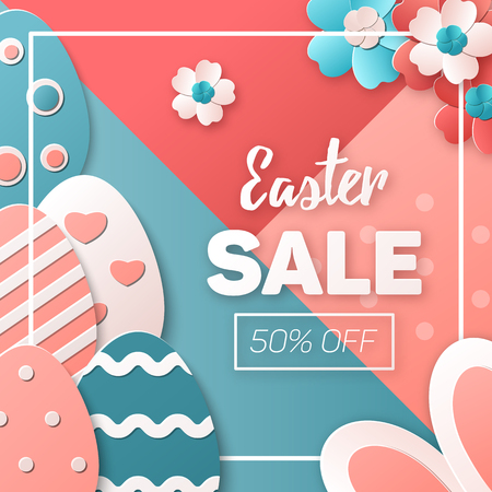Easter Sale. Easter eggs, bunny and spring flowers. Template for advertising banner, poster or flyer. Trendy colors. Vector illustration in a paper art style 写真素材 - 119535499