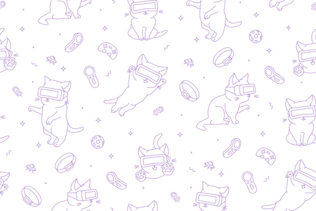 Monochrome seamless pattern with funny cartoon kittens with VR devices in a virtual reality space. Flat linear style. White background. Suitable for wrapping paper, textile, backgrounds etc.