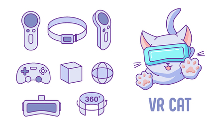 VR Cat. Set of vector icons. Illustration with VR devices, controller, joystick, gamepad, helmet and funny jumping cat with VR headset in a flat linear style. Isolated on white