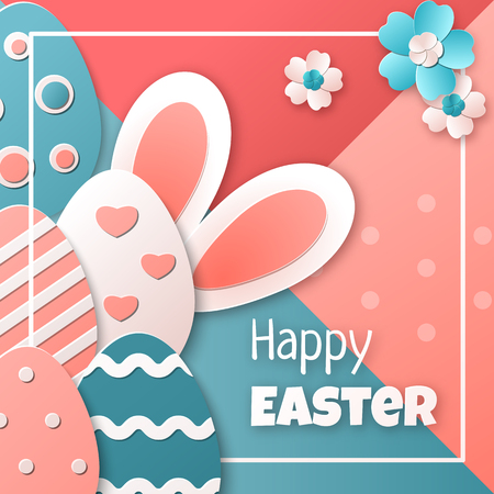 Happy Easter. Easter eggs, bunny and spring flowers. Vector template for greeting card, banner, poster, flyer or invitation. Trendy colors. Paper art style