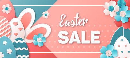 Easter Sale. Vector illustration in trendy colors. Easter eggs, bunny and spring flowers in a paper art style. Template for advertising banner, poster or flyer.