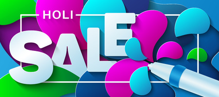 Holi Sale. Water gun with paint splashes. Vector illustration in a paper art style. Design concept for advertising poster, banner or flyer. 写真素材 - 119578562