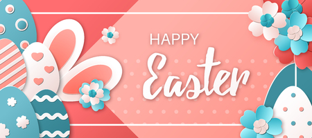 Happy Easter. Vector illustration with easter eggs, bunny and spring flowers. Design concept for greeting card, banner, poster, flyer or invitation. Trendy colors. Paper art style Illustration