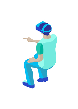 Sitting student with vr headset touches invisible virtual display. Isometric character in a back view. Isolated on white background. Design element for web page, mobile app etc. 写真素材 - 119535509