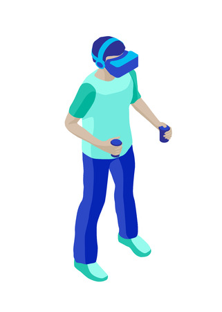 Standing boy with a virtual reality helmet and controllers for vr games. Isometric character. Isolated on white background. Design element for web page, mobile app etc. 写真素材 - 119535510