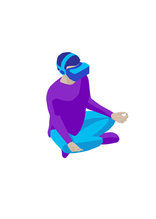 Young man in a virtual reality helmet sitting in the lotus position. Isometric character. Isolated on white background. Design element for web page, mobile app etc. 写真素材 - 119535511
