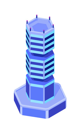 Futuristic building. Hexagonal sci-fi tower. Vector isometric illustration. Design element for games, apps, websites etc. Isolated on white background.  イラスト・ベクター素材