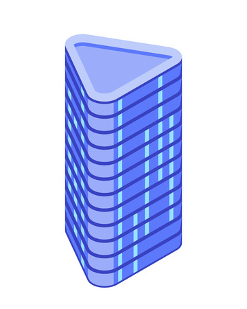 Futuristic building. Triangle skyscraper. Vector isometric illustration. Design element for games, apps, websites, maps etc. Isolated on white background.